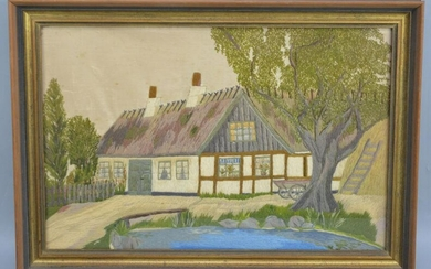 Unusual Silk Work Painting of a Cottage