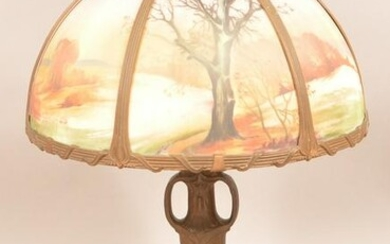 Vintage Pittsburgh-Type Painted Shade Table Lamp.