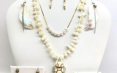 Vintage White Costume Jewelry Collection - Abalone +