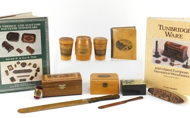 Woodenware and reference books including Mauchline Ware