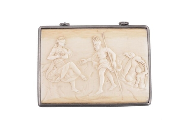 Y A 19th century ivory rectangular and white metal box