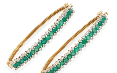 a pair of 14k gold, emerald and diamond bangles