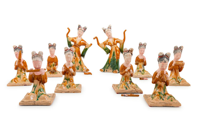 10 Chinese Sancai Glazed Pottery Figures of Female Musicians and Dancers