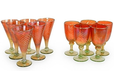 (11 Pc) Rick Strini Iridescent Glass Goblets