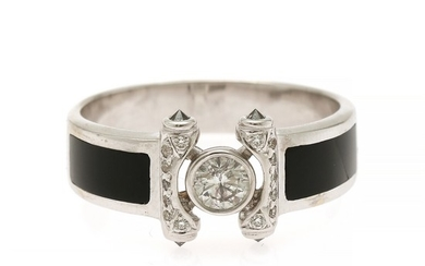 A ring set with one larger and a numerous smaller brilliant-cut diamonds, flanked by two polished onyx and four black diamonds, mounted in 14k white gold.