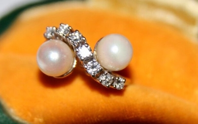14 kt. Goldsmithing - Toi & Moi Ring saltwater pearls about 7mm - Diamonds, 0.45Ct G / VVS1