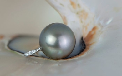 14 kt. White gold - Tahitian pearls 11.3mm pendant with diamond