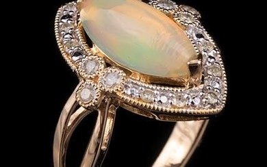 14 kt. Yellow Gold, Opal and Diamond Ring