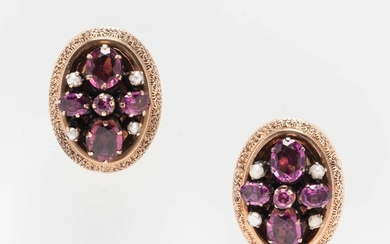 14kt Gold Pink Tourmaline, Amethyst, and Seed Pearl Earrings