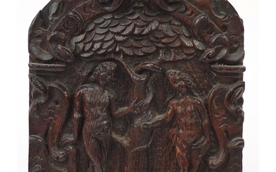 17th century oak panel carved with Adam and Eve, Arthur Bret...