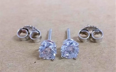 18 kt. White gold - Earrings - 0.66 ct Diamond