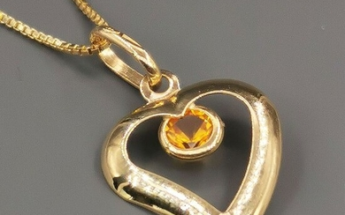 18 kt. Yellow gold - Necklace with pendant - 0.25 ct Citrine
