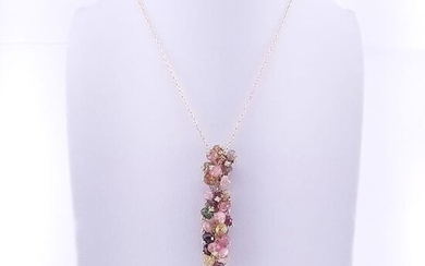 18 kt. Yellow gold - Necklace with pendant - 12.50 ct Tourmaline