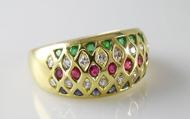 18 kt. Yellow gold - Ring - Diamonds, Emeralds, Rubys, Sapphires