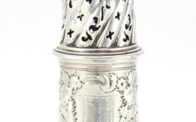 18th century silver baluster shaped caster, embossed