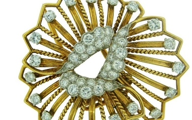 1960s CARTIER 3 cts DIAMOND YELLOW GOLD FLOWER BROOCH