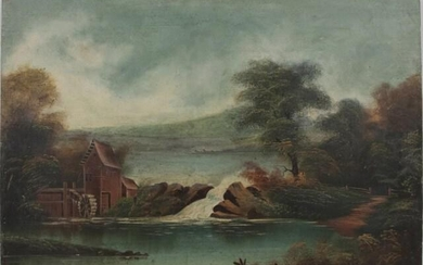 19th Century Landscape with Watermill and Dam