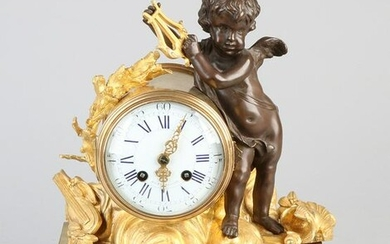 19th century French gilt bronze mantel clock with Amor