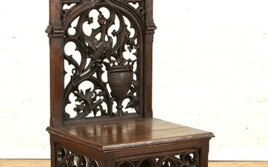 FRENCH OAK GOTHIC REVIVAL CHAIR OPEN WORK C.1880