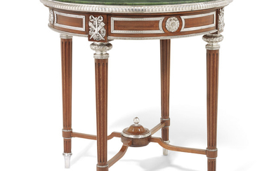 A RARE SILVER-MOUNTED SYCAMORE AND NEPHRITE TABLE, MARKED FABERGÉ WITH IMPERIAL WARRANT, WITH THE MARK OF THE FIRST SILVER ARTEL, ST PETERSBURG, 1908-1917, SCRATCHED INVENTORY NUMBER 20458