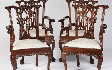 (4) Chippendale style mahogany armchairs