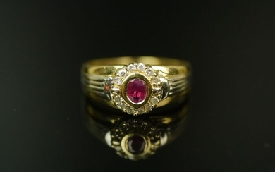 585 gold - Ladies gold ring with ruby 0, 20 carat and diamonds 0, 12 carat.