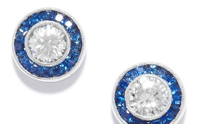SAPPHIRE AND DIAMOND CLUSTER EARRINGS in platinum, each