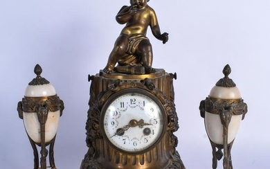 A 19TH CENTURY FRENCH BRONZE AND ALABASTER CLOCK