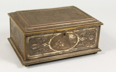 """A 19TH CENTURY FRENCH JEWELLERY CASKET, the lid """"LA"""