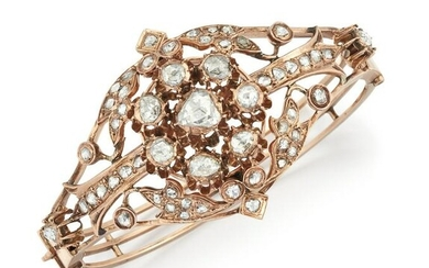 A 19TH CENTURY ROSE GOLD AND DIAMOND BANGLE, the