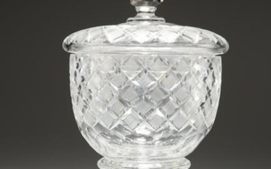 A 19th CENTURY CUT-GLASS SWEETMEAT JAR AND COVER, the