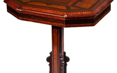 A 19th-Century marquetry folding centre table
