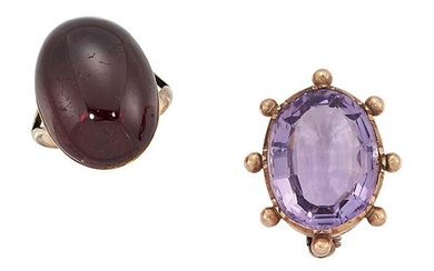 A 19th century garnet ring and amethyst...