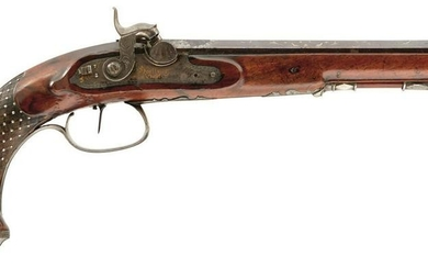 A 40-BORE GERMAN PERCUSSION OFFICER'S PISTOL, 9.25inch