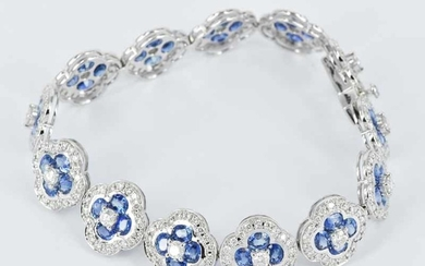 A BLUE SAPPHIRE AND DIAMOND BRACELET