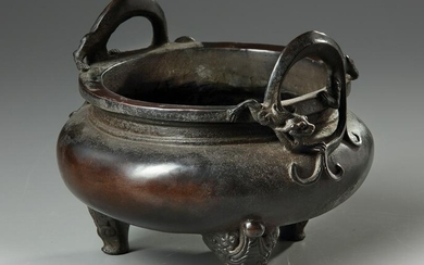 A CHINESE BRONZE TRIPOD CENSER, 19TH-20TH CENTURY