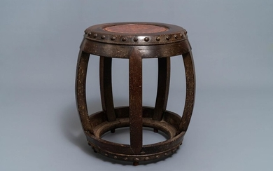 A Chinese carved hardwood stand with rootwood top,...