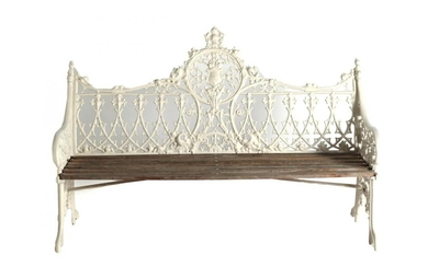 A Coalbrookdale Style Painted Metal Garden Bench, modern, the scrolled...