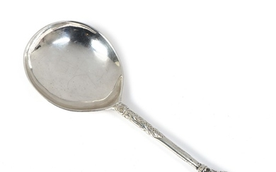 A Danish Renaissance silver spoon, engraved with owner's data PEDER IENS EN 1588 and IVS MPD. Weight 50 g. L. 15 cm.