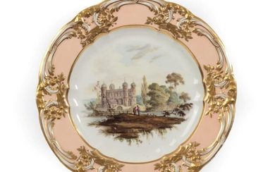 A Derby Porcelain Plate, circa 1810, painted with figures beside...