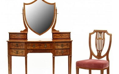 A Fine Adam Style Inlaid Dressing Table with Mirror and
