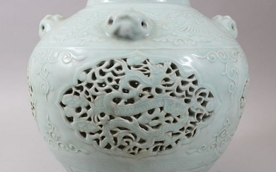 A LARGE CHINESE CELADON GROUND PIERCED MING STYLE