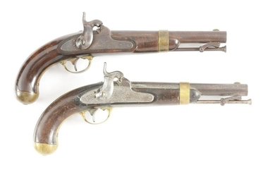 (A) LOT OF TWO H. ASTON MODEL 1842 PERCUSSION PISTOLS