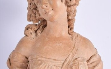 A MID 19TH CENTURY FRENCH CARVED TERRACOTTA FIGURE OF A