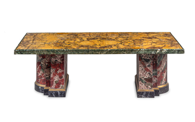 A Modern Marble and Faux Marble Low Table by Robert Metzger (American, 1939-1994)