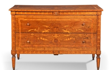 A NORTH ITALIAN WALNUT, TULIPWOOD AND FRUITWOOD MARQUETRY COMMODE, LATE 18TH/EARLY 19TH CENTURY