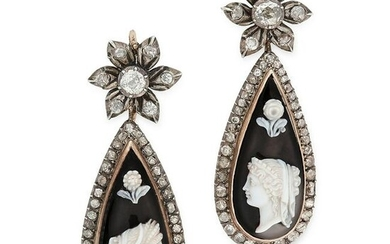 A PAIR OF ANTIQUE CAMEO AND DIAMOND EARRINGS, 19TH
