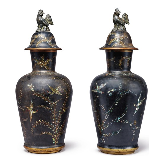A PAIR OF BERLIN FAIENCE BLACK-LACQUERED AND MOTHER-OF-PEARL INLAID VASES AND COVERS, 19TH CENTURY