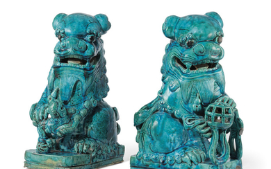 A PAIR OF CHINESE TURQUOISE-GLAZED BUDDHIST LIONS, 18TH/19TH CENTURY