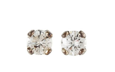 A PAIR OF DIAMOND STUD EARRINGS, the diamonds mounted in whi...